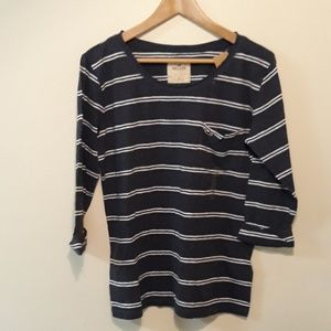 Hollister New Navy White Stripe Pocket Tee L